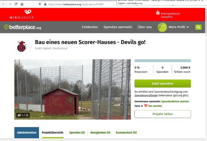 Screenshot Spendenseite